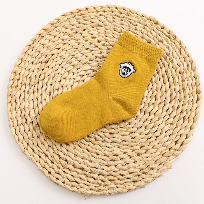 Basic Style Kid Cotton Socks with Embrodiery Pattern