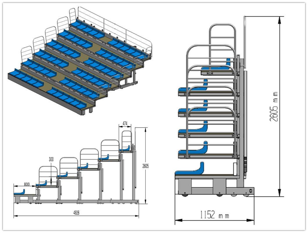 Professional OEM Bleachers Factory Stadium Gym Indoor Telescopic Bleachers