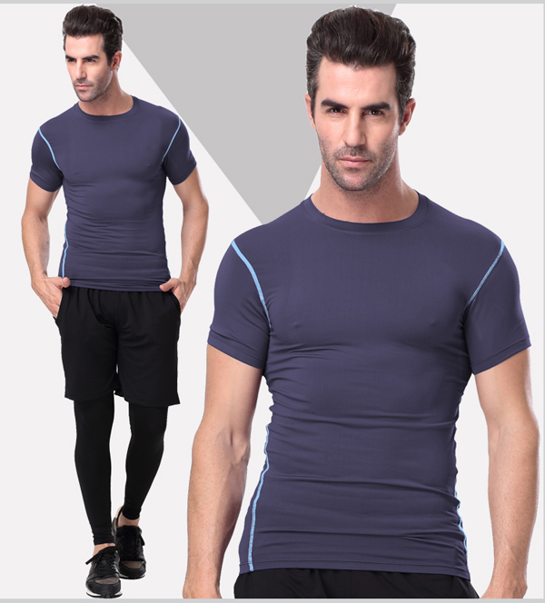 Plain Spandex/Polyester Sportswear Gym T-Shirt for Men