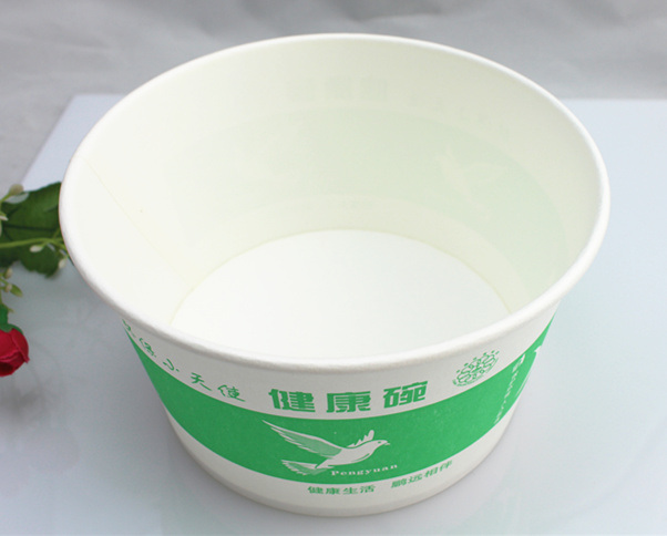 Disposable Take Away Paper Salad Bowl with Clear Plastic Lid