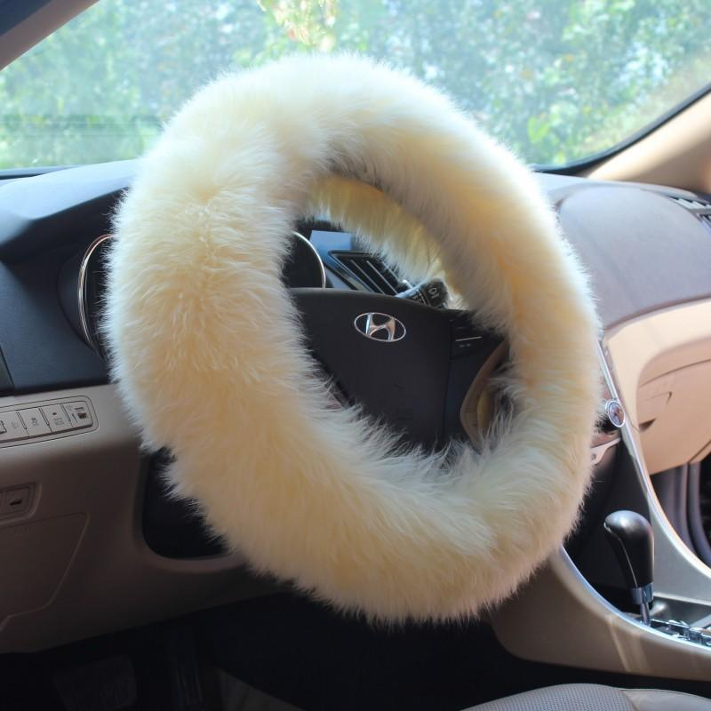 Genuine Australian Sheepskin Car Steering Cover in Short Wool for Men