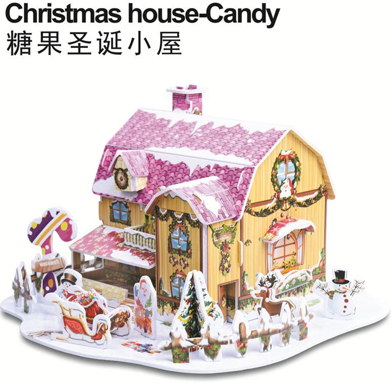 DIY Xmas House Three-Dimensional Christmas Puzzle Toy