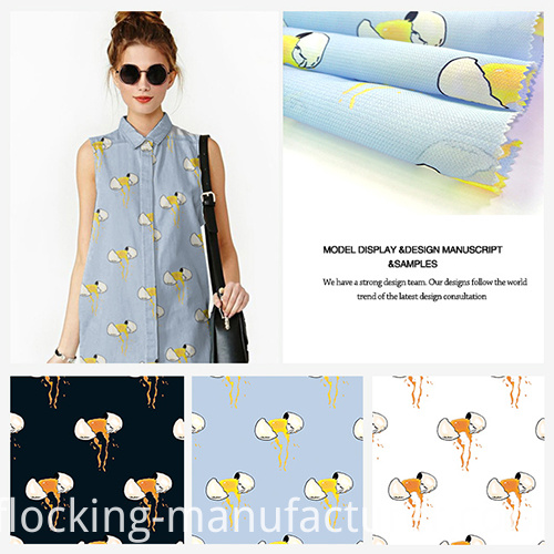 Printed Dynamic Egg-Breaking Design Polyester Garment Fabric