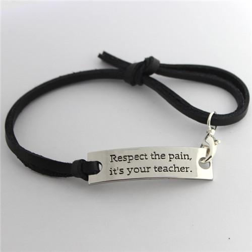 Wholesale Handmade Engraving Letter Bracelet Material Leather