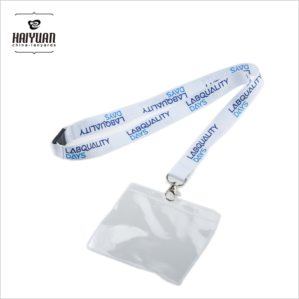 100%Polyester Printing White Lanyard for Students ID Card Badge Holder