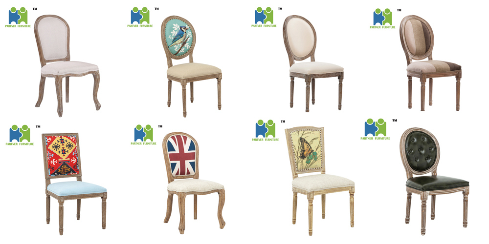 (LOUIS) Wooden Fabric Chair Cheap High Back Modern Dining Chair with Nails Around