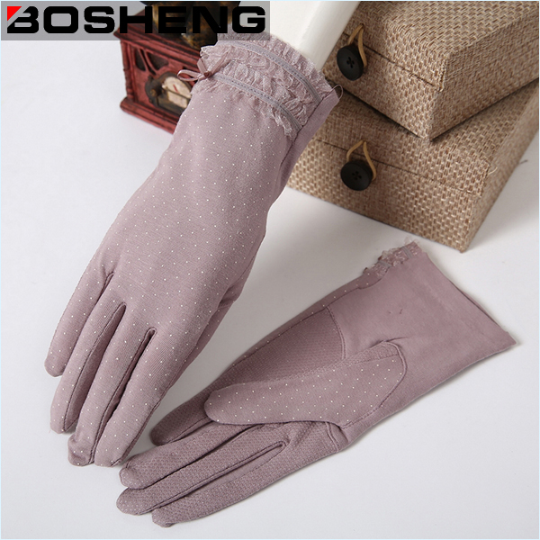 Bow Decor Lace Woven Gloves