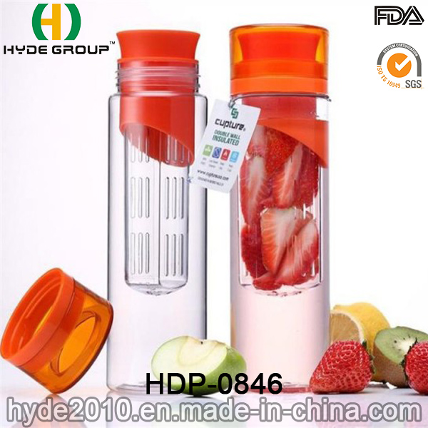 700ml Wholesales Fruit Infuser Tritan Water Bottle, BPA Free Plastic Fruit Infusion Bottle (HDP-0846)