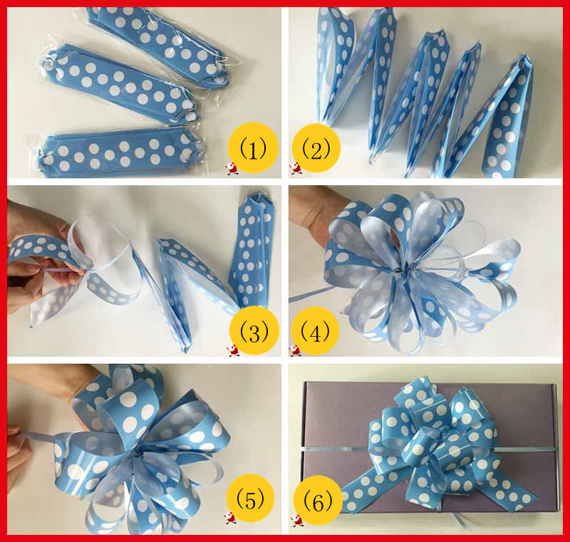 Grosgrain Printed Ribbon Pull Bow for Gift Wrapping