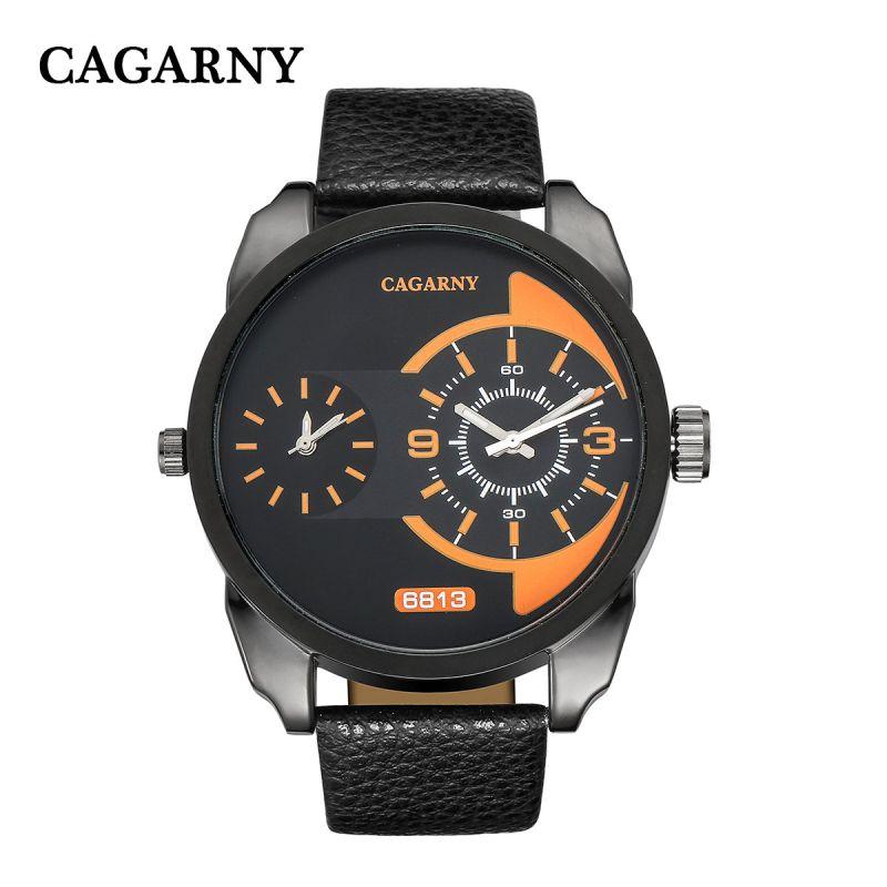 Mens Two Movement Wristwatch Japan Quartz Leather Strap Watch for Men Black