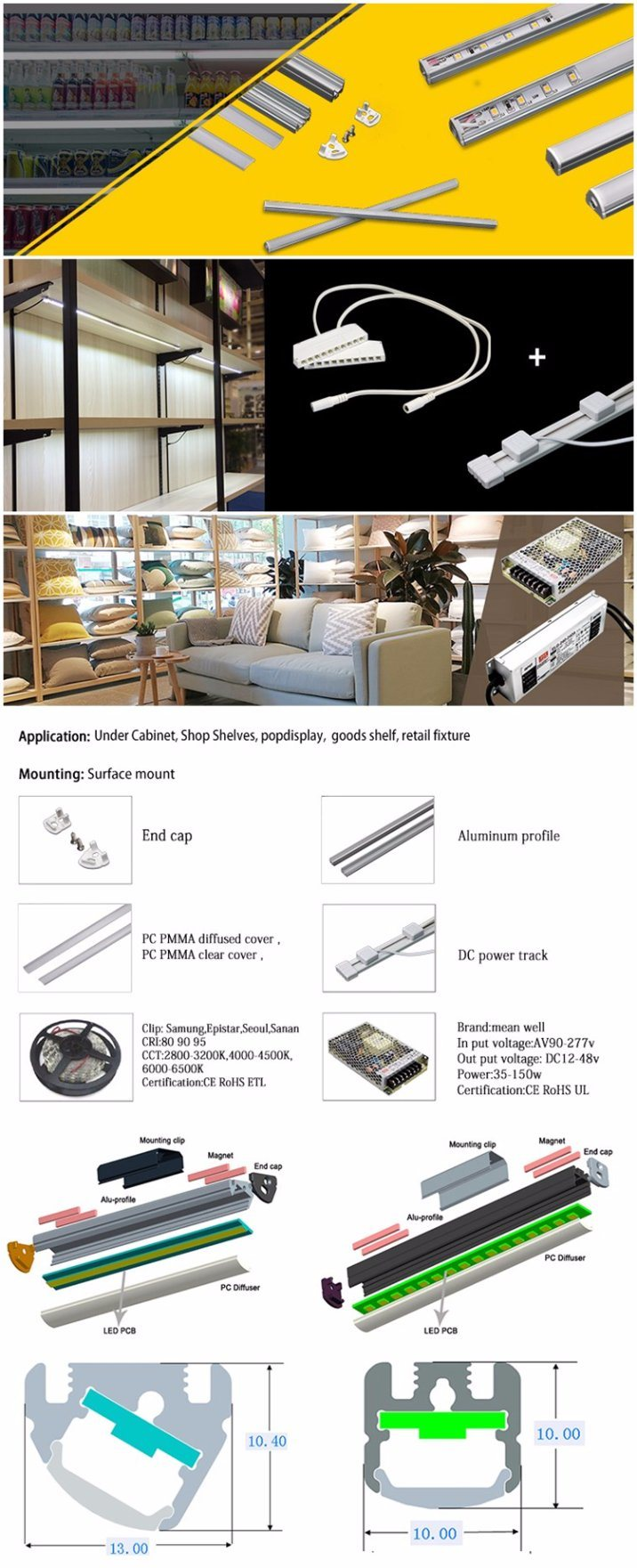 Wholesale LED Light Bar, LED Linear Light for Shop Shelves, Pop Display Retail Fixture