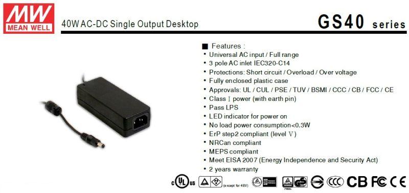 Mean Well 40W AC-DC Desktop Power Supply