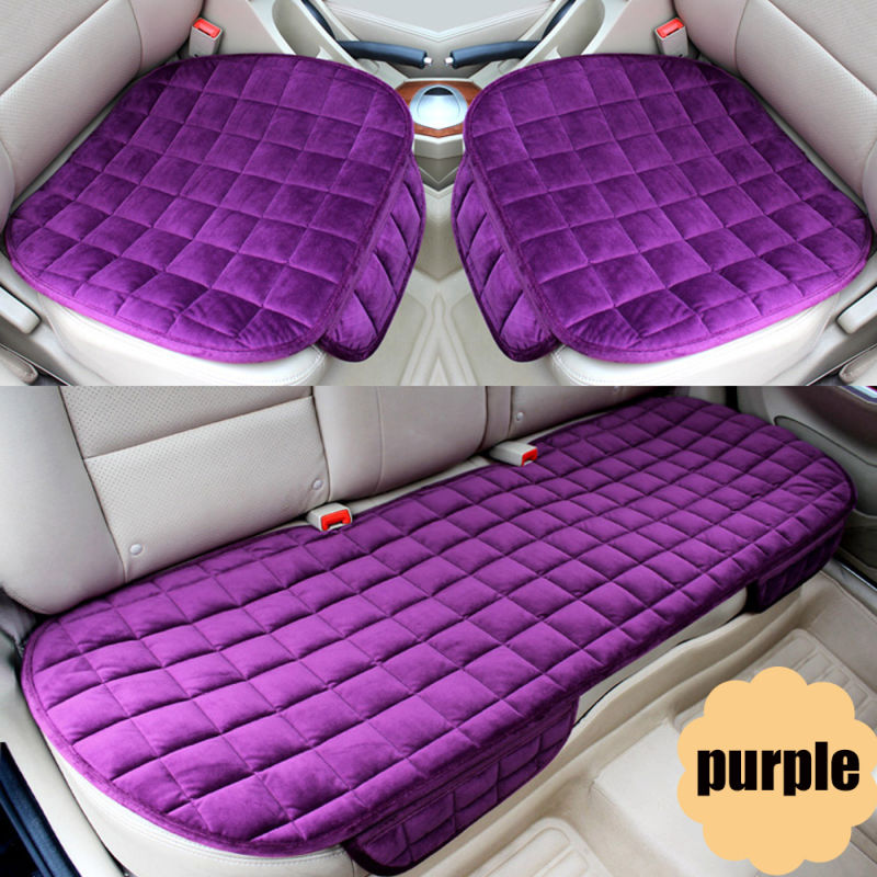 3 PCS/Set Car Seat Cover Cushion Soft Silk Velvet Seat for Front Back Seat Chair Winter Warm Seat Covers S/M/L with Pocket