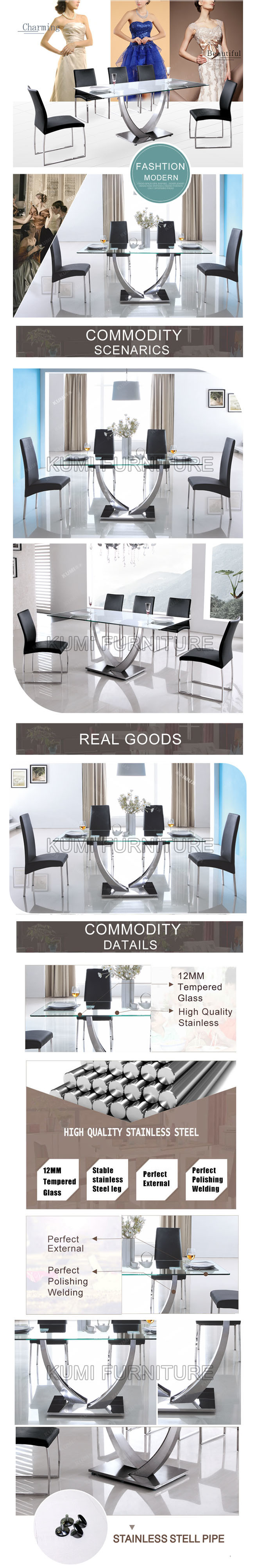 New Designs Dining Table with Stainless Steel