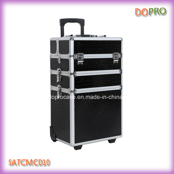 4 in 1 Crocodile PVC Professional Makeup Trolley Case for Beauty Salons (SATCMC010)
