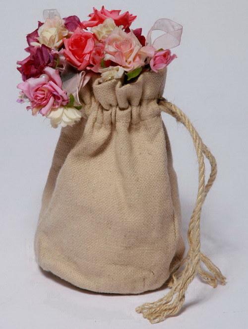 Hemp Small Jute String Bag with Hemp Rope (HSBG-004)