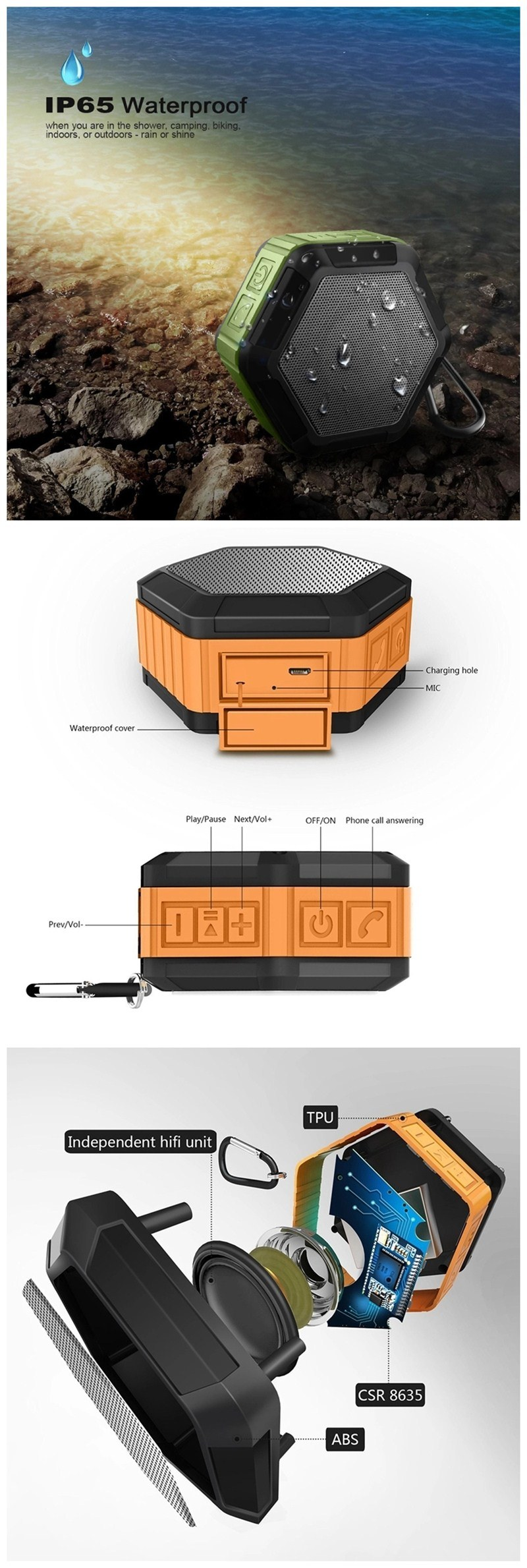Top Quality Sport Outdoor Portable Mini Wireless Bluetooth Speaker Waterproof Bass Sound
