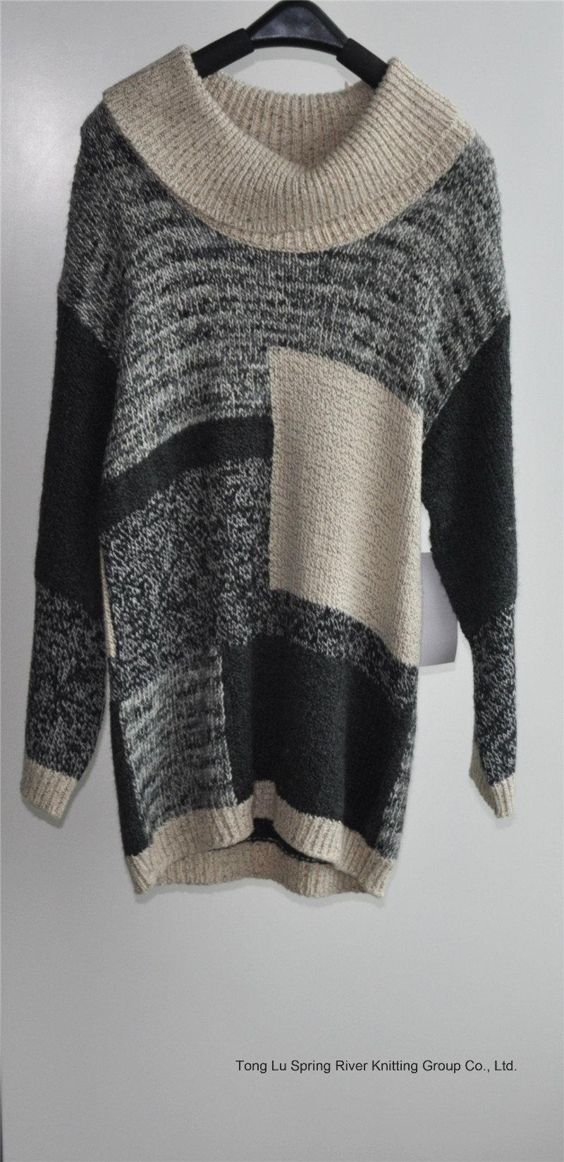 Winter Women Long Sleeve Patterned Knit Fit Sweater