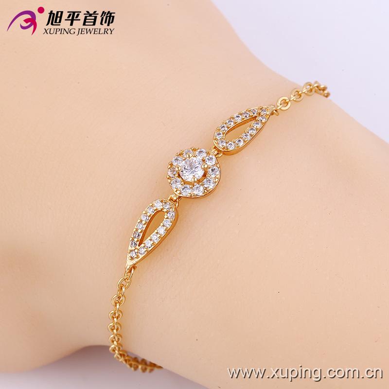 Elegant CZ Diamond Gold-Plated Imitation Jewelry Bracelet for Women - 74134