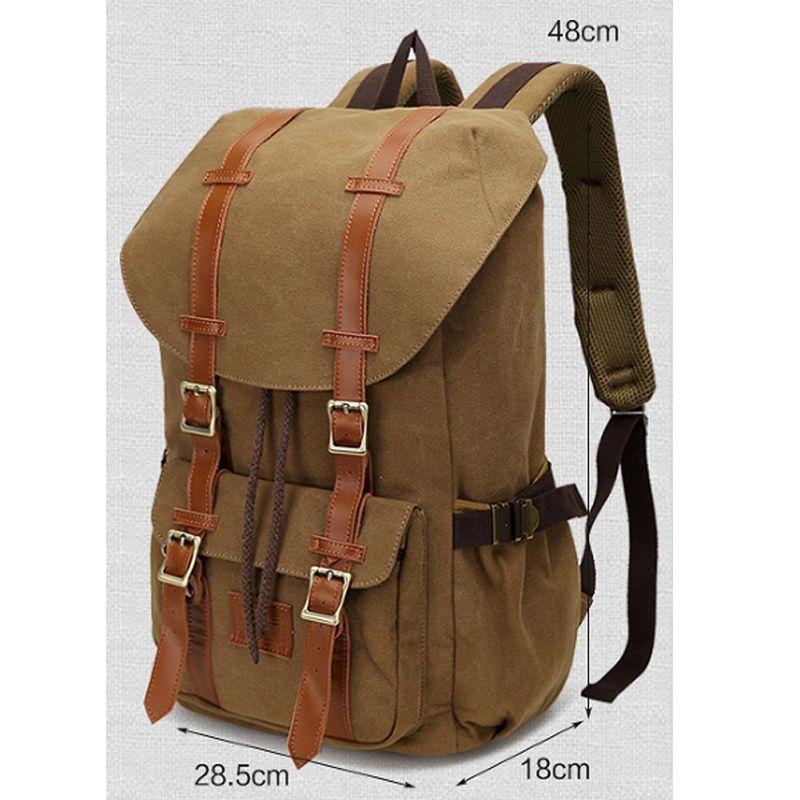 Casual Canvas Schoolbag Vintage Leather Shoulder Backpack Rucksack Bookbag Satchel Hiking Bag