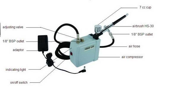 HS08ADC-Sk Tattoo Airbrush Compressor Cheap Airbrush Kits