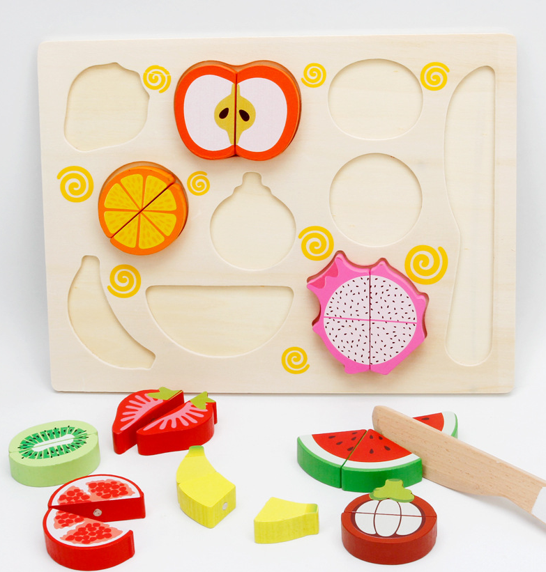 wooden magnetic cutting toys