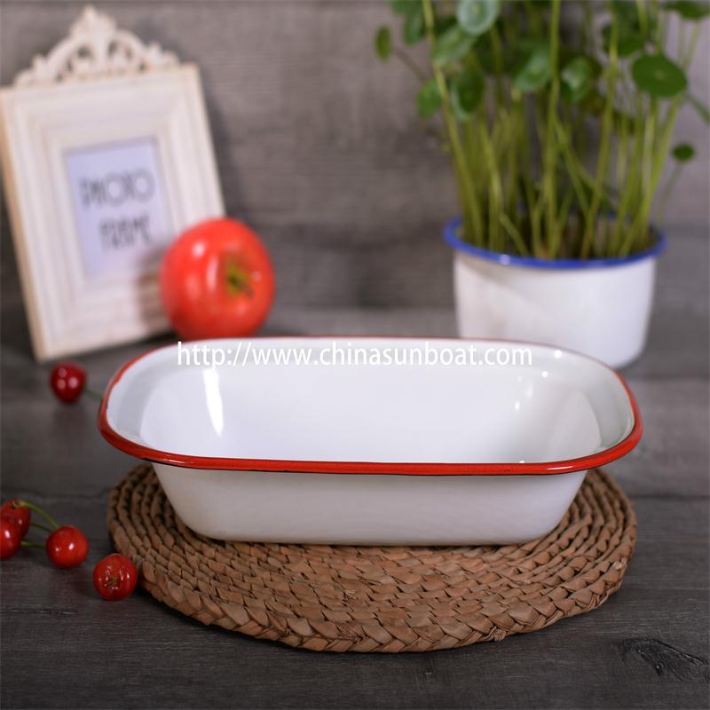 Sunboat Enamel Butter Rectangular Plate Kitchenware