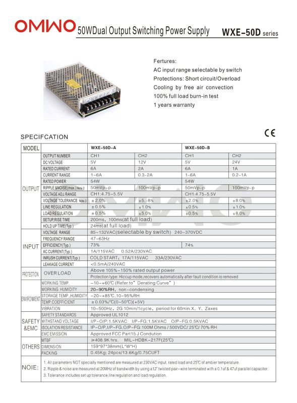 Omwo Wxe-60d-a Dual Ouput Switching Power Supply
