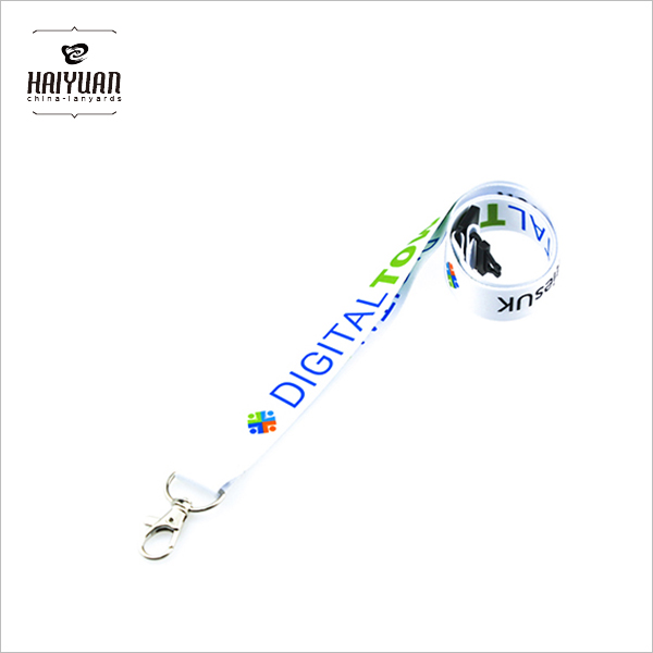 Heat Transfer Logo White Color Lanyad with Metal Clip