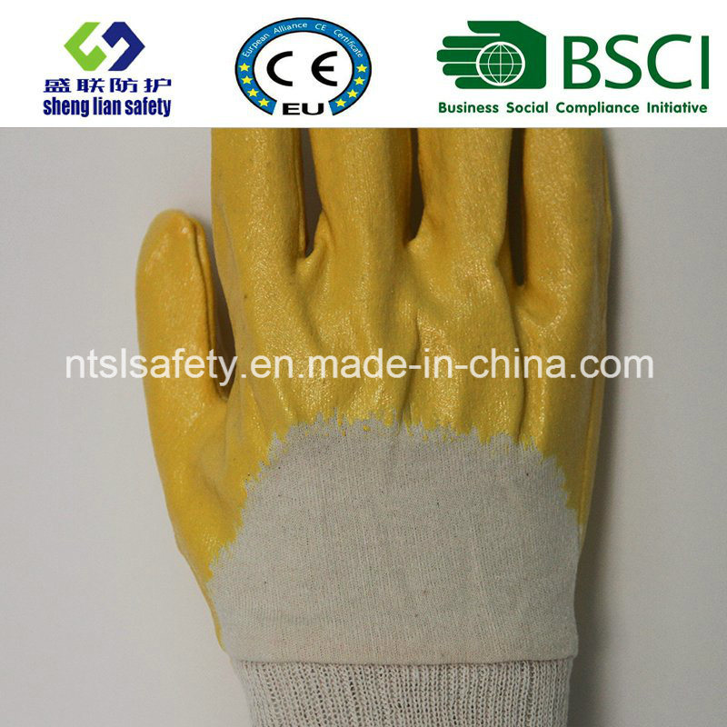 Half Dipped Nitrile Gloves Yellow Color Industrial Work Glove