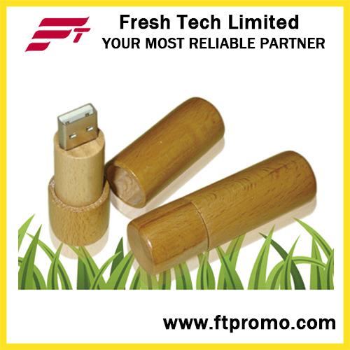 Cylinder Bamboo&Wood Style USB Flash Drive (D809)