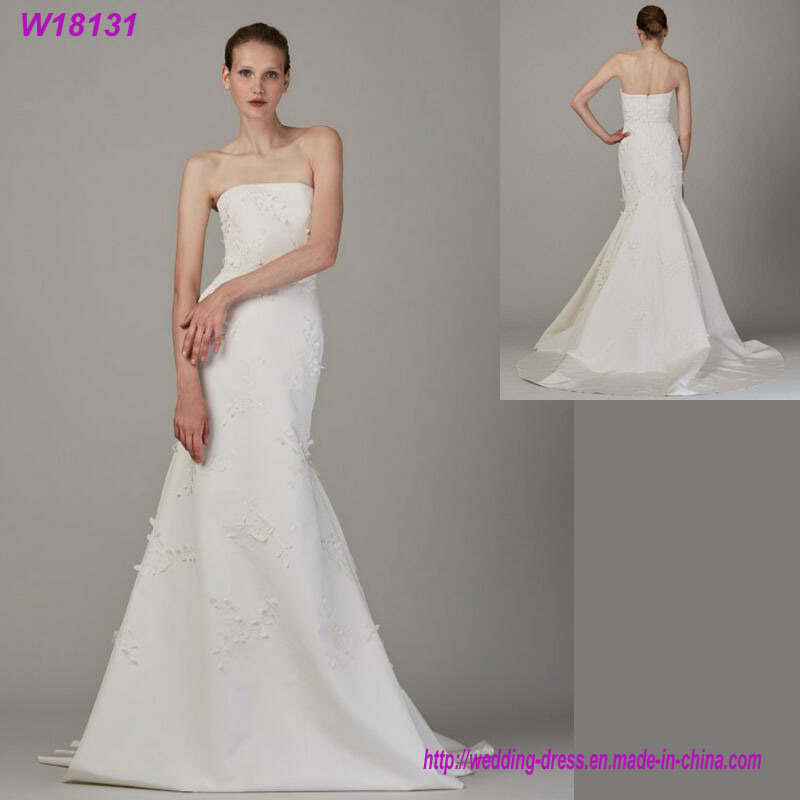 latest Fashion Luxury Strapless Wedding Dress with High Quality