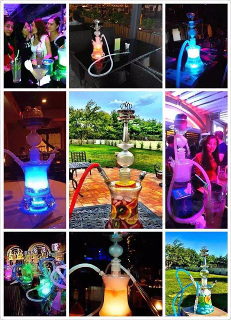 Hookah Glass Crystal 47cm Tall and LED Light