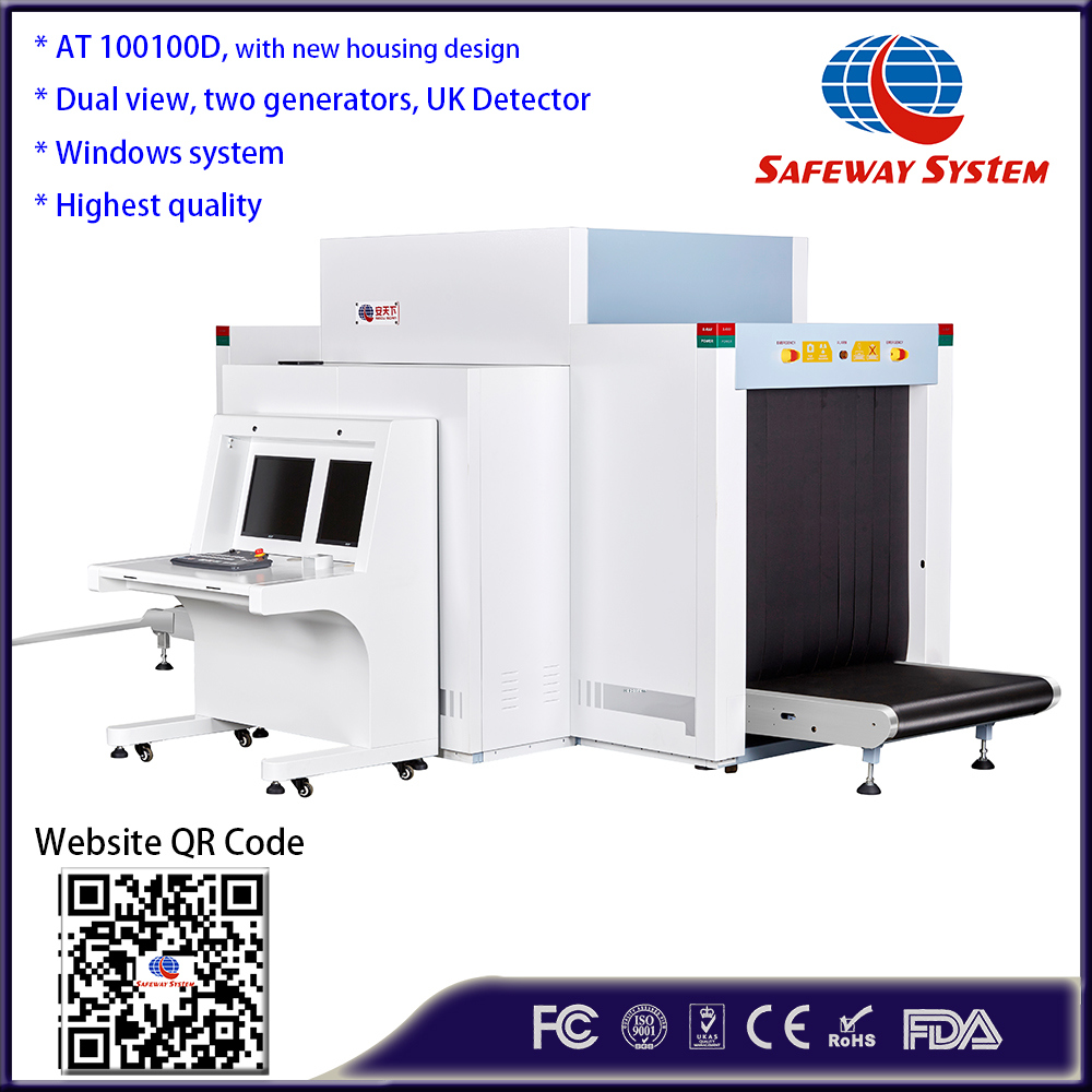 100100d Dual View Airport X-ray Security Scanning Inspection Scanner Screening Scanning Machine with Two Generators, Tip Function and Explosive Detection