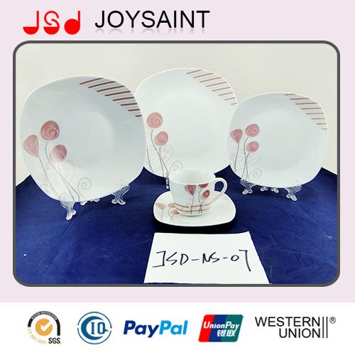Carton Decal Square 5PCS Dinner Set Porcelain Plate