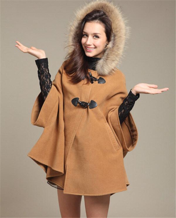 Fashion Women's Batwing Wool Poncho Jacket (50031-1)