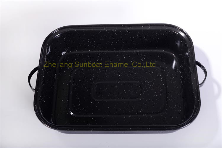 Enamel Deep Rectangular Baking Tray with Handles