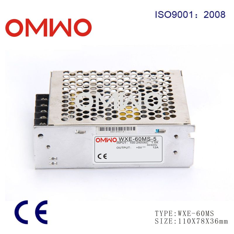 Wxe-60ms-12 Mini Size 60W DC 12V 5A Switching Power Supply for LED Strip Light, Input 110/220V AC