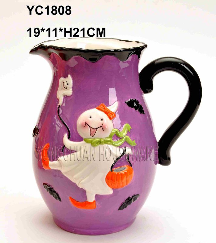 Halloween Hand Painted Big Pitcher with Handle