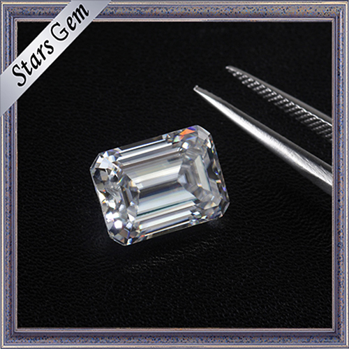 1.5 Carat 7.5X5.5mm Wonderful Emerald Cut F Color White Moissanite Stones