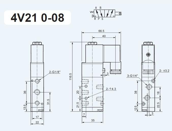 Solenoid Valve 4V210-08 for Hls120 Hls180 Concrete Mixing Batching Plant