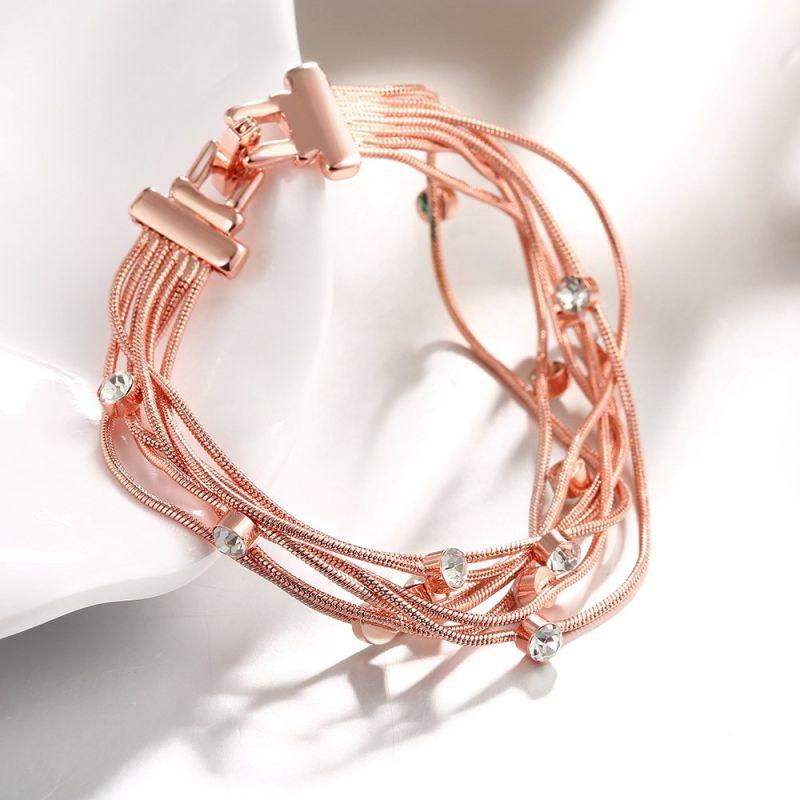 Fashion Eco-Friendly Rose Gold Bracelet Crystal Shape Pendant Charm Bracelet Multilevel Women Bracelet