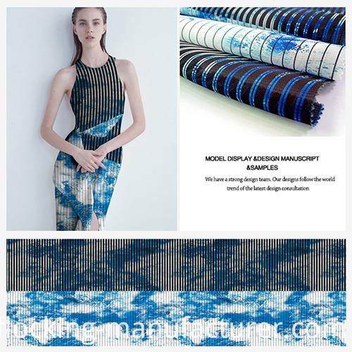 Ventilate&Elegant Striped Organza Fabric with Printing Design