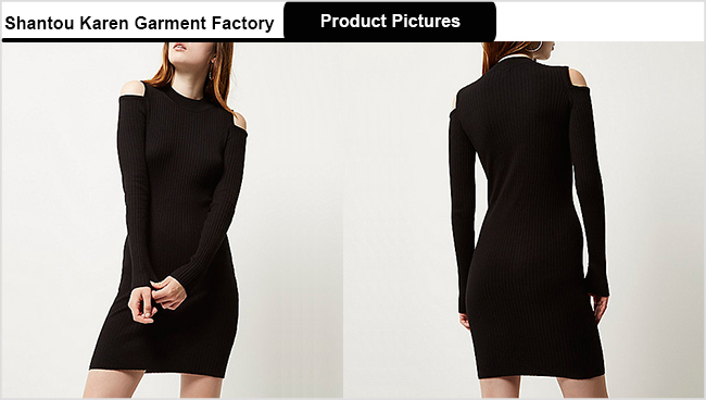 Ladies Cold Shoulder Fashion Sweater Dress