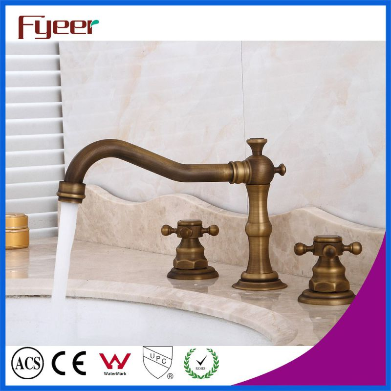 Fyeer Widespread Antique Brass Basin Water Tap