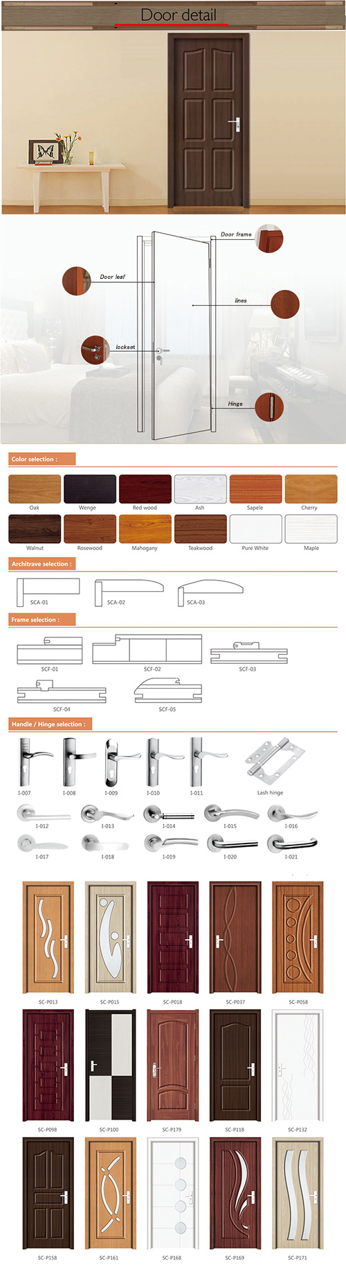 Engineered Used Interior MDF PVC Doors with Glass (SC-P169)