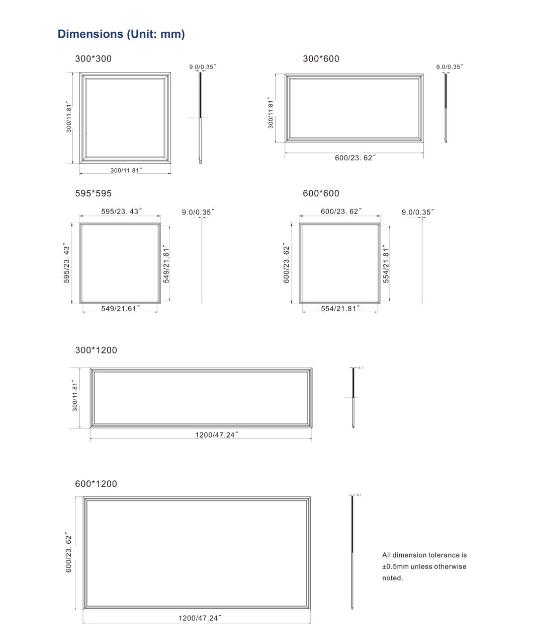 Ce/UL 40W, 50W Commercial Office LED Ceiling Panel Wall Light
