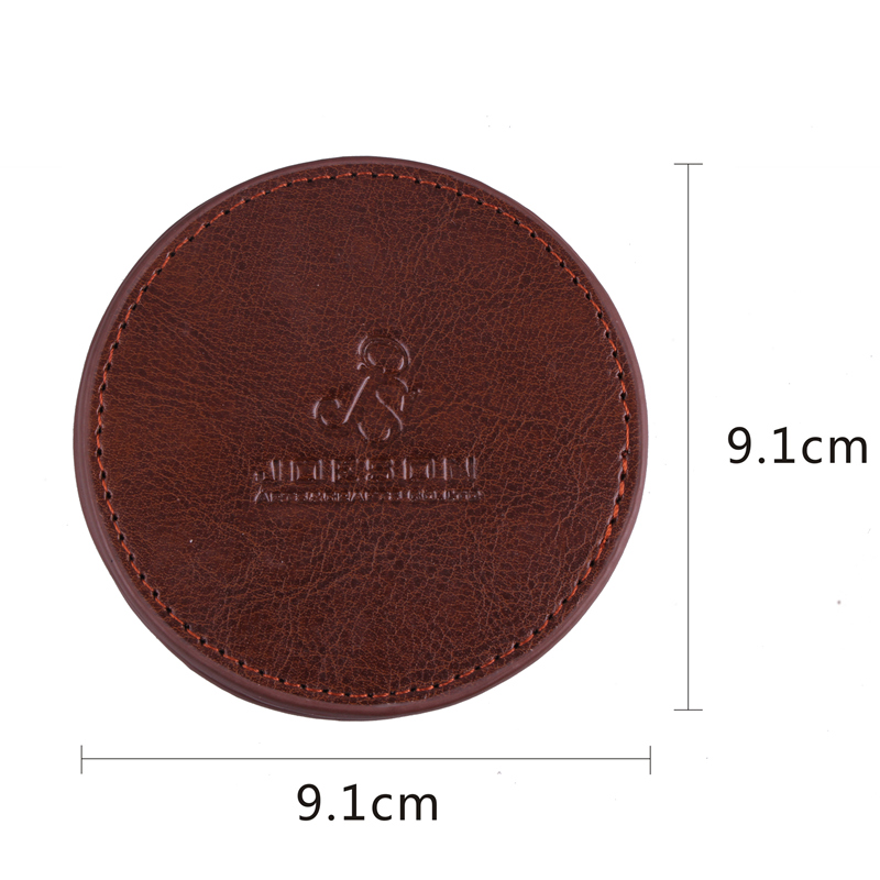 Customized Brown Leather Square Coaster for Mug