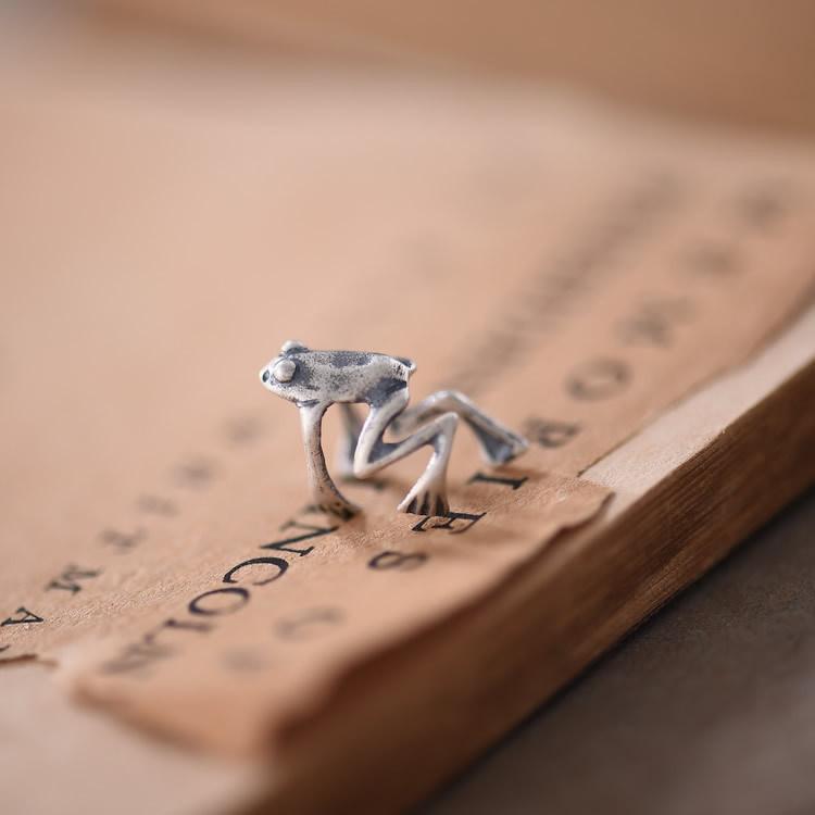 Handmad 925 Sterling Silver No Piercing Frog Clip-on Earrings Steampunk Stylized