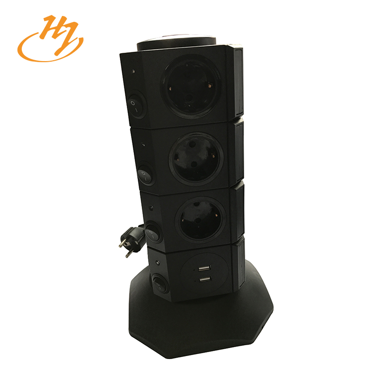 Black 2-USB 4-Layers Vertical Tower Socket